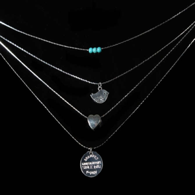 Lariat Layered Bird Heart Coin Necklace