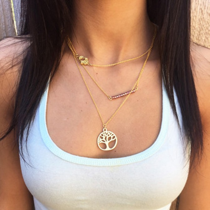 Lariat Triple Layered Tree of Life Beads Necklace
