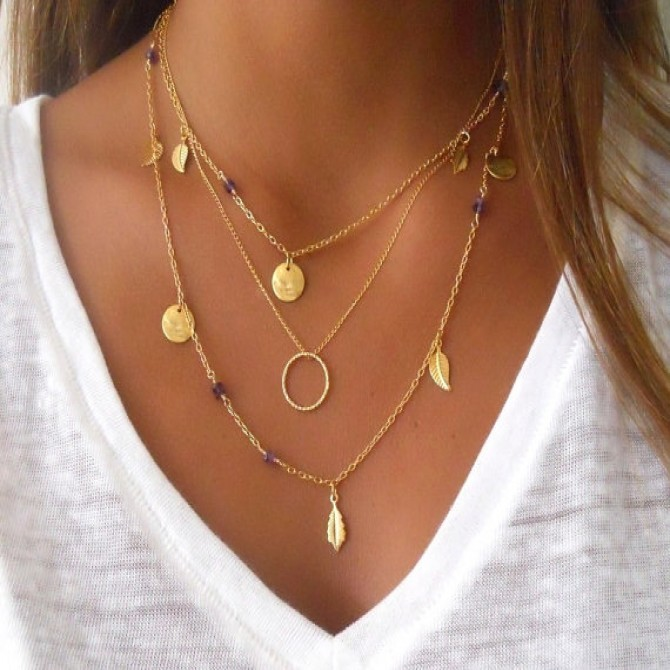 Lariat Triple Layered Coins Beads Necklace