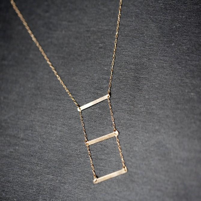 Lariat Layered Horizontal Bar Necklace