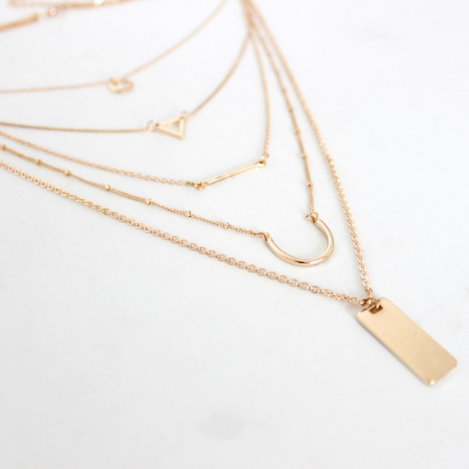 Lariat Layered Triangle Bar Geometric Necklace