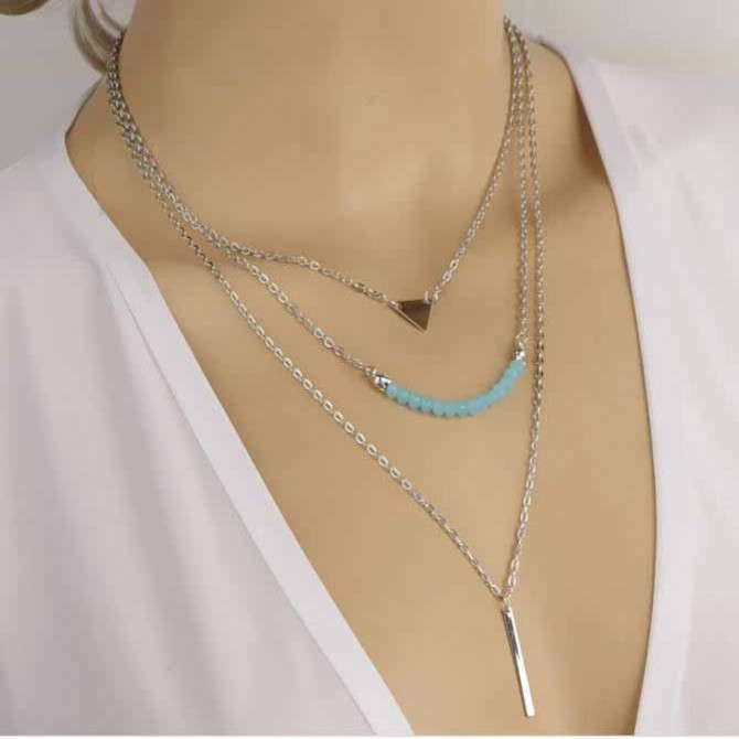 Lariat Layering Blue Agate Triangle Necklace