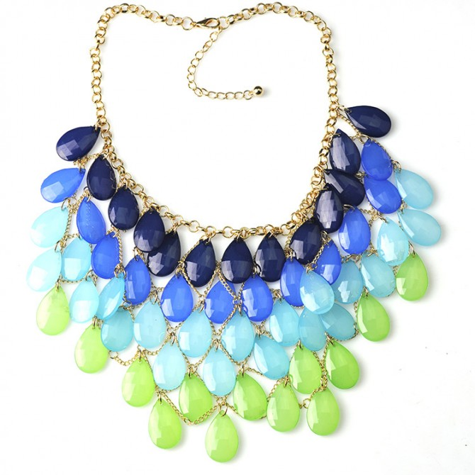 Fantastic Colorful Necklace Blue and Green