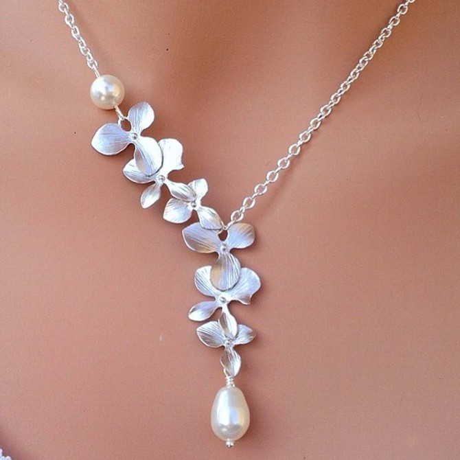 Lariat Cascading Silver Orchid Necklace