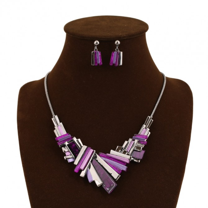 Asymmetry Geometry Purple Necklace