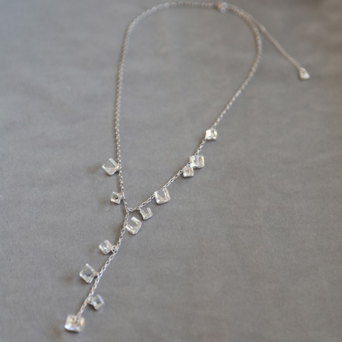 Asymmetry Clear Crystal Necklace