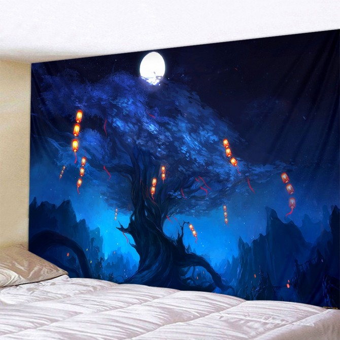 Forest Mystery Tree Blue Night Fashion Bohemian Wall Art Tapestry