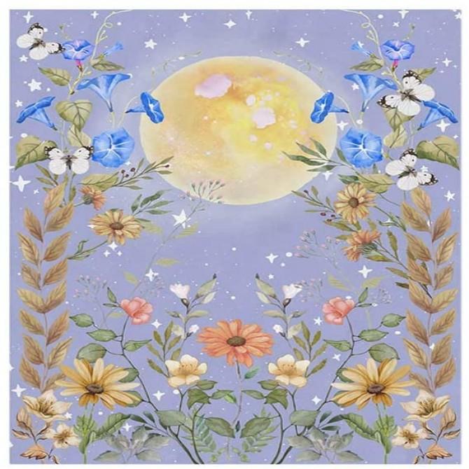 Full Moon Night Flower Secret Garden Fashion Bohemian Wall Art Tapestry