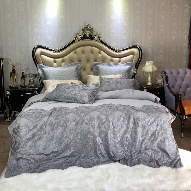 Delicate Italian Lace Duvet Cover Set-Gray