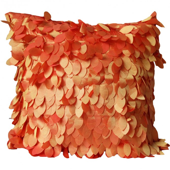Feather Leaves Cushion Cover, Orange
