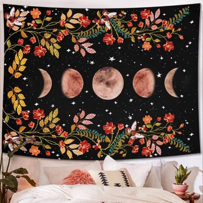 Orange Moon Phase Night Garden Fashion Bohemian Wall Art Tapestry