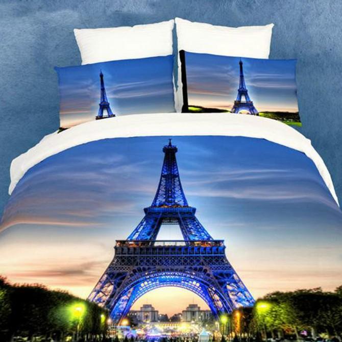 Paris Eiffel Tower Luxury Oil Painting Queen Bedding Set- Final Sale