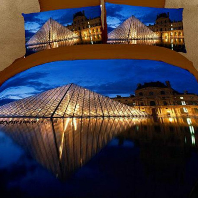 Paris Louvre Pyramid Luxury Oil Painting Queen Bedding Set