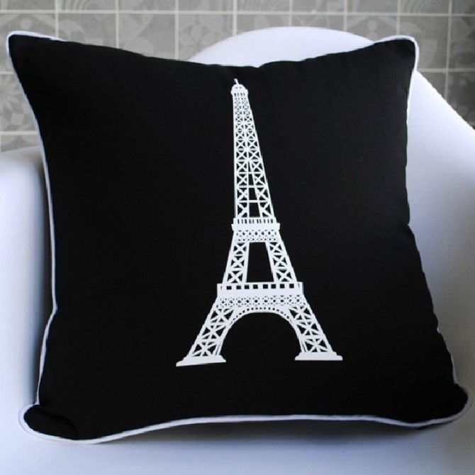 Black Paris Eiffel Tower Cushion Cover