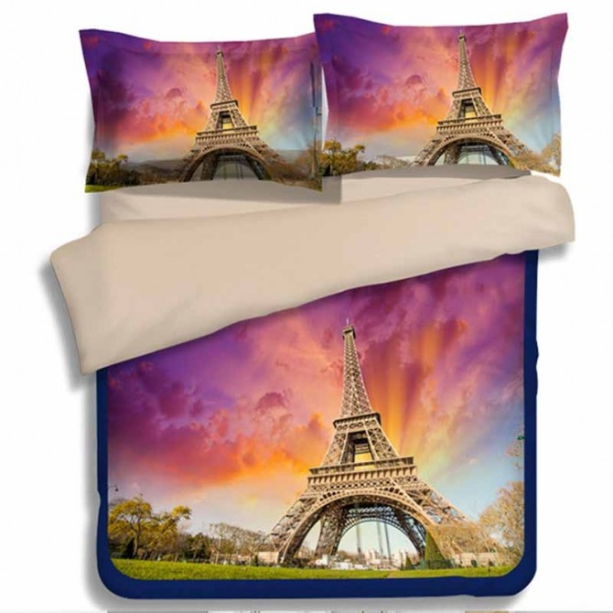 Purple Paris Eiffel Tower Duvet Cover Set
