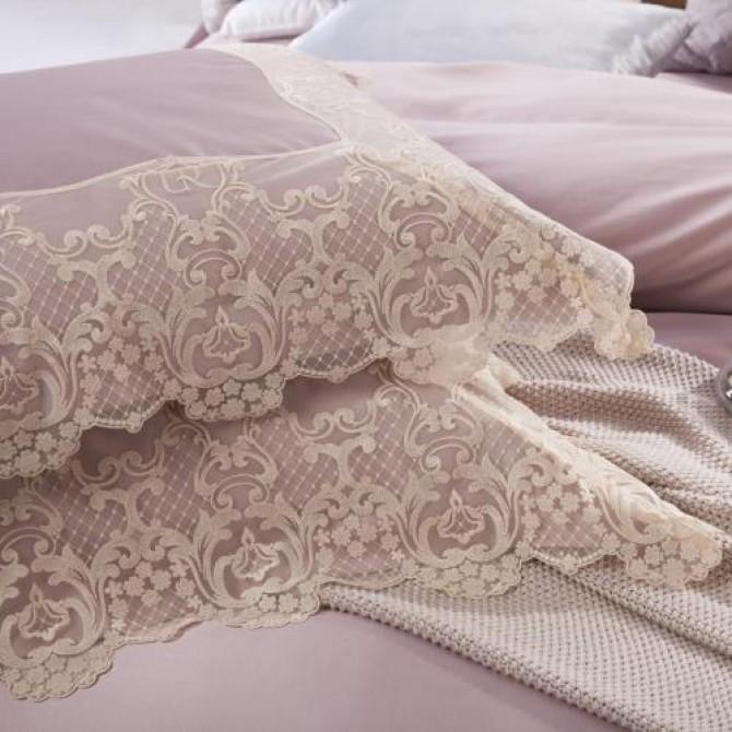 Paris Silk Simply Luxury Lace Duvet Cover Set Purple