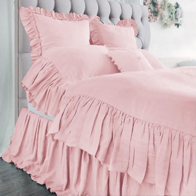 Mermaid Long Ruffle Duvet Cover Set- Peach Pink