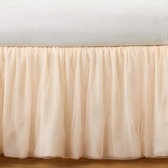 Luxury Peach Sheer Bed Skirt
