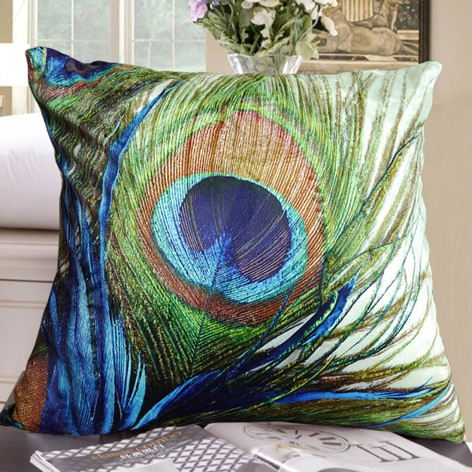 Peacock Feather Cushion Cover
