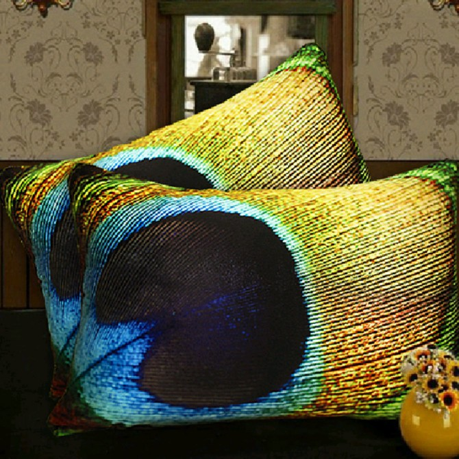 Peacock Feather Eyes Cushion Cover-F