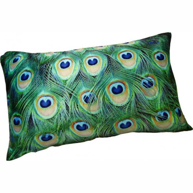 Peacock Feather Eyes Cushion Cover