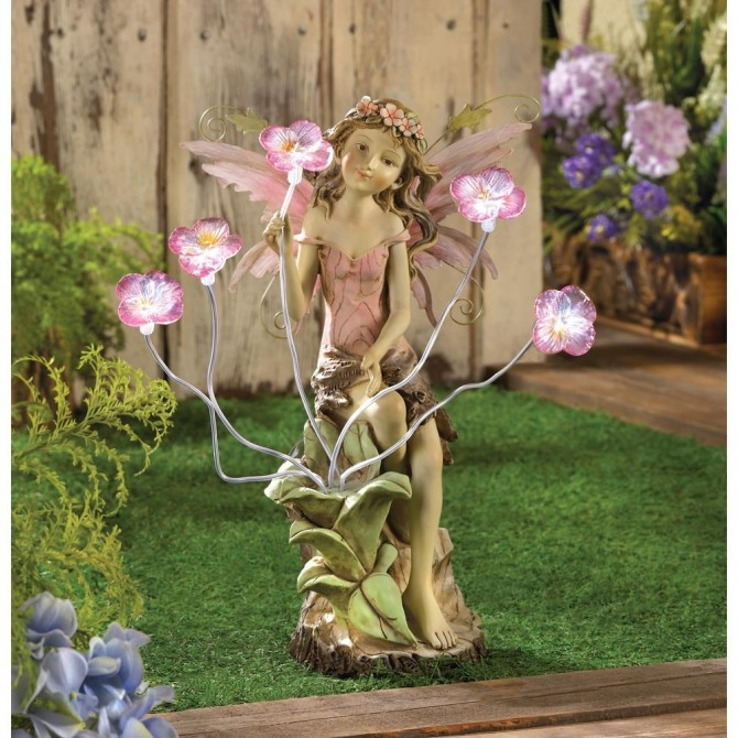 Fairy Statue with Solar Peony Flower Light