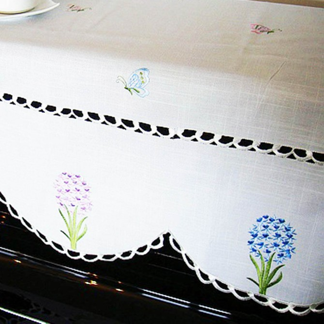 Garden Hyacinth Embroidery Piano Cover