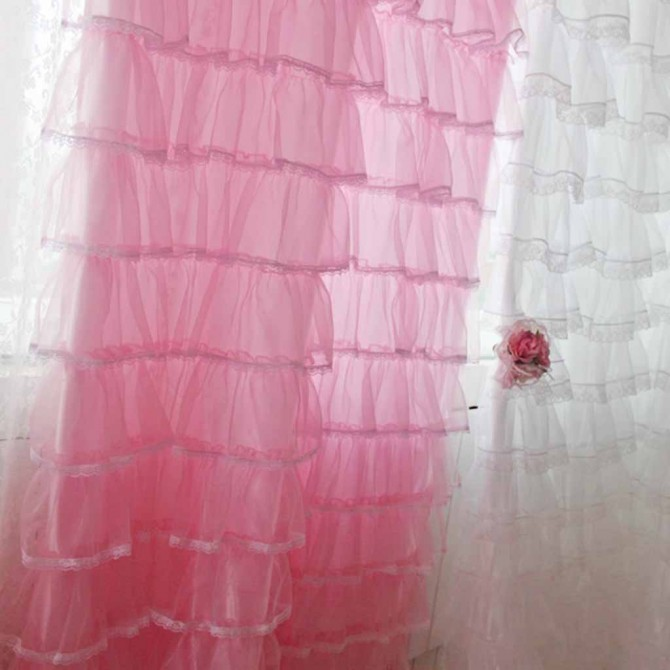 Pink Lacey Ruffled Panel