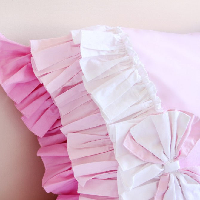 Pink Gradient Ruffled Pillow Sham