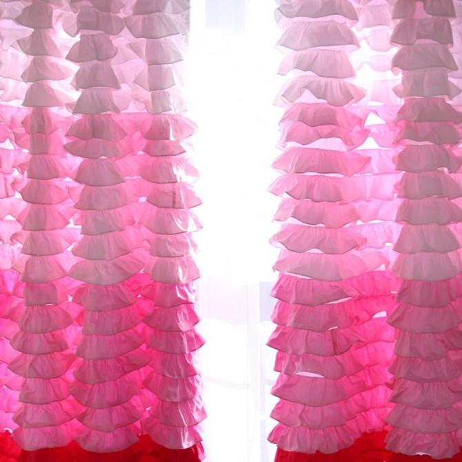 Pink Ombre Ruffle  Waterfall Curtain Panel