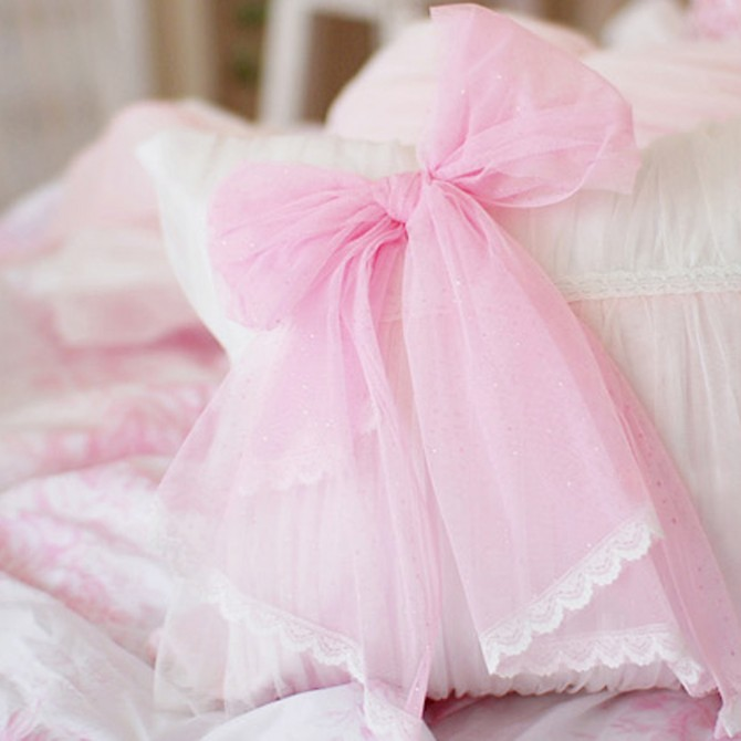 Pink Ruched Cushion Cover