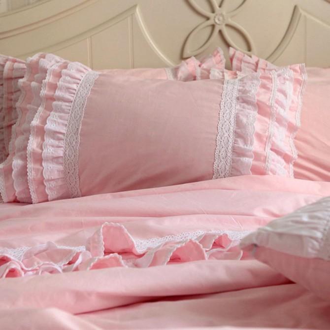 Pink Ruffle Duvet Cover Set-Australian Double