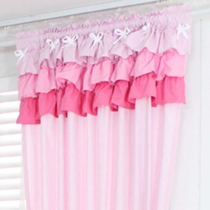 Light Pink Ruffle Curtain Set-Final Sale