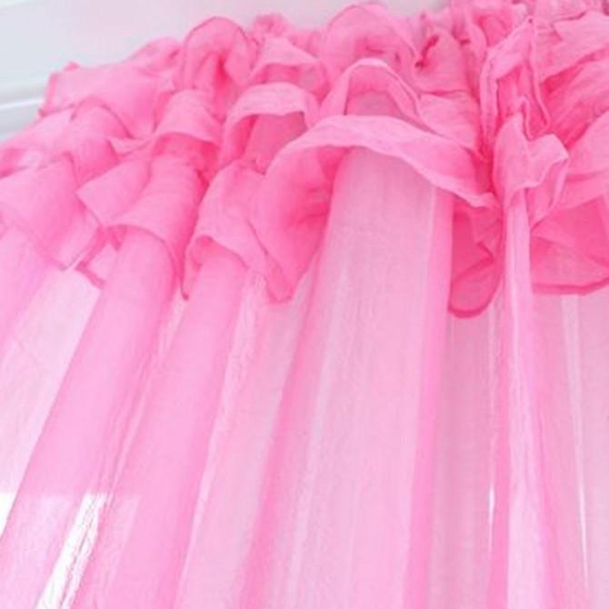 Pink Ruffle Sheer Curtain Set