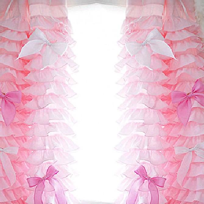 Pink Ruffle Waterfall Curtain Set