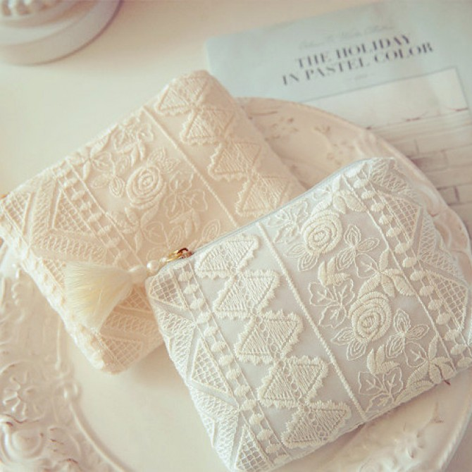Rose Embroidered Lace Feminine Product Bag