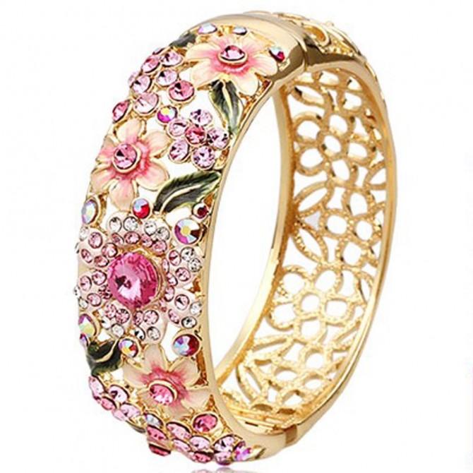 Spring Garden Enamel Bangle, Pink