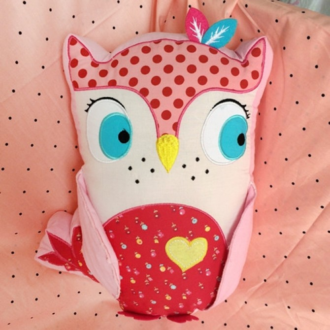Pink Owl Pillow with Yellow Heart