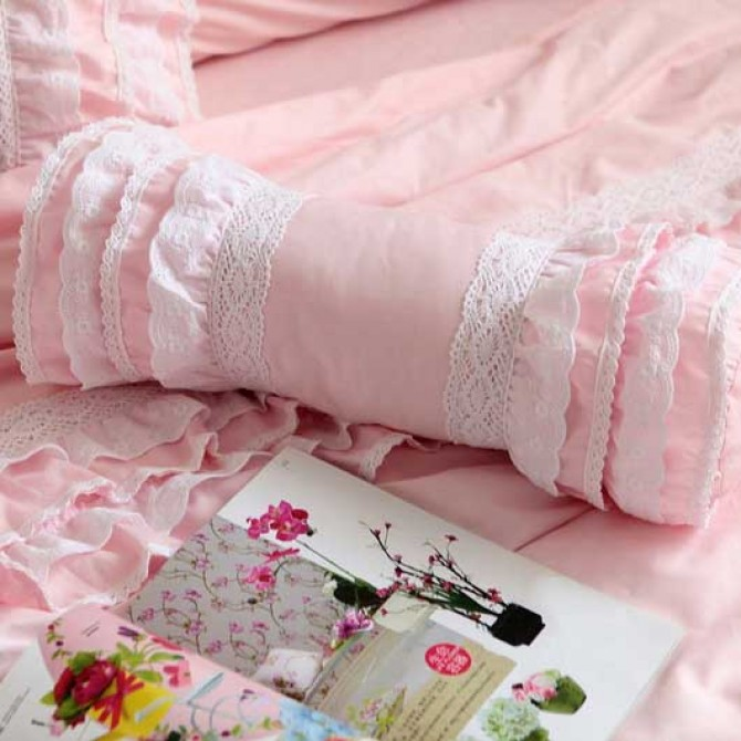 Pink Ruffle Bolster Pillow Cover