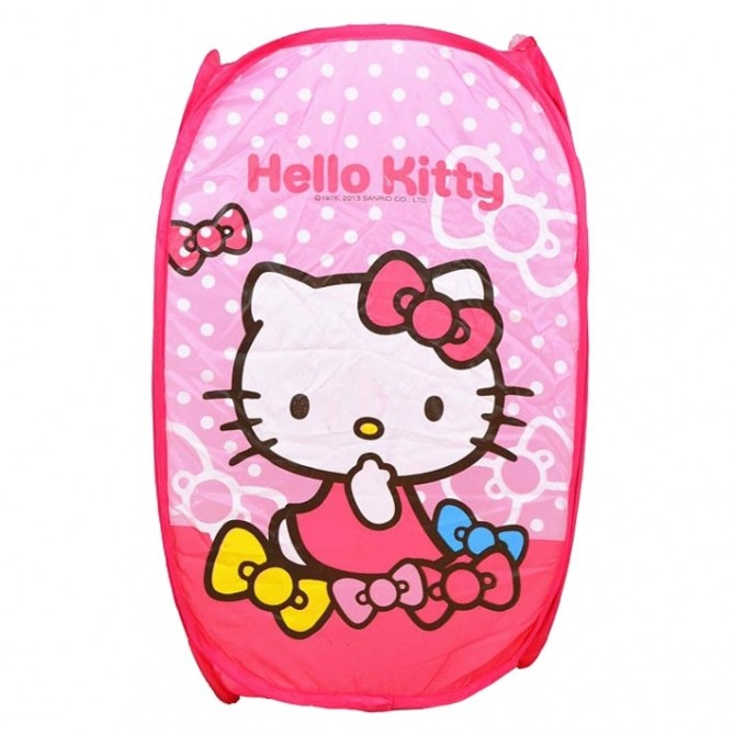 Polka Dot Hello Kitty Foldable Clothes Laundry Basket/Storage/Bag