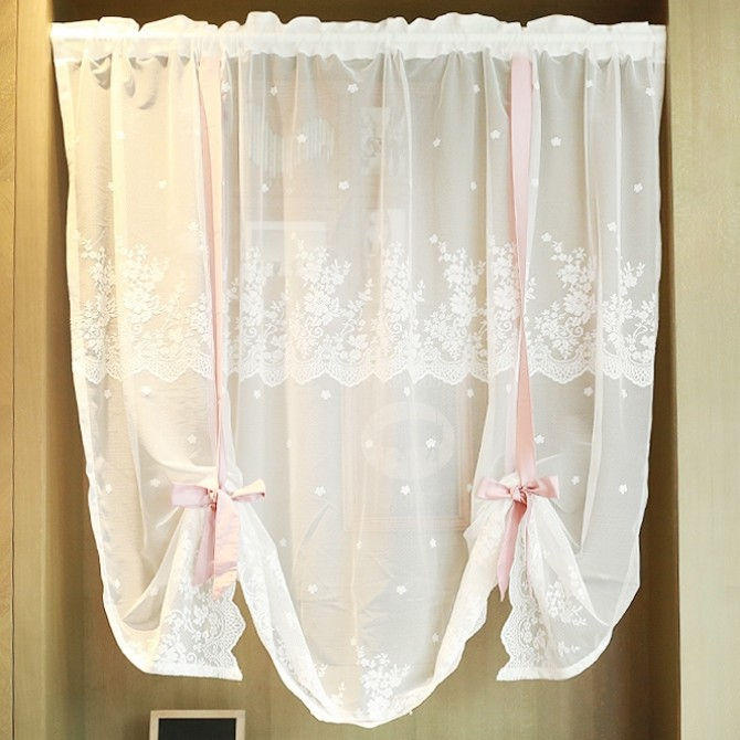 Pink Ribbon Lace Tie Up Balloon Curtain