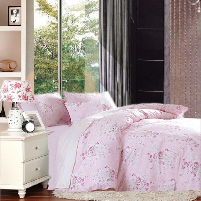 Pink Cottage Rose Egyptian Cotton Duvet Cover Set