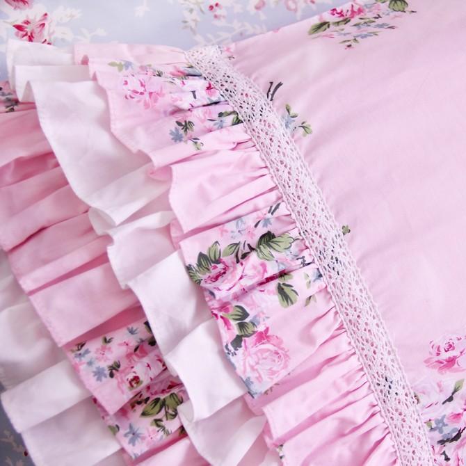 Layered Ruffle Pillow Sham, Pink Rose