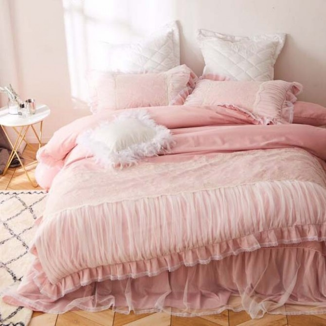 French Lace Ruched Pink Duvet Cover