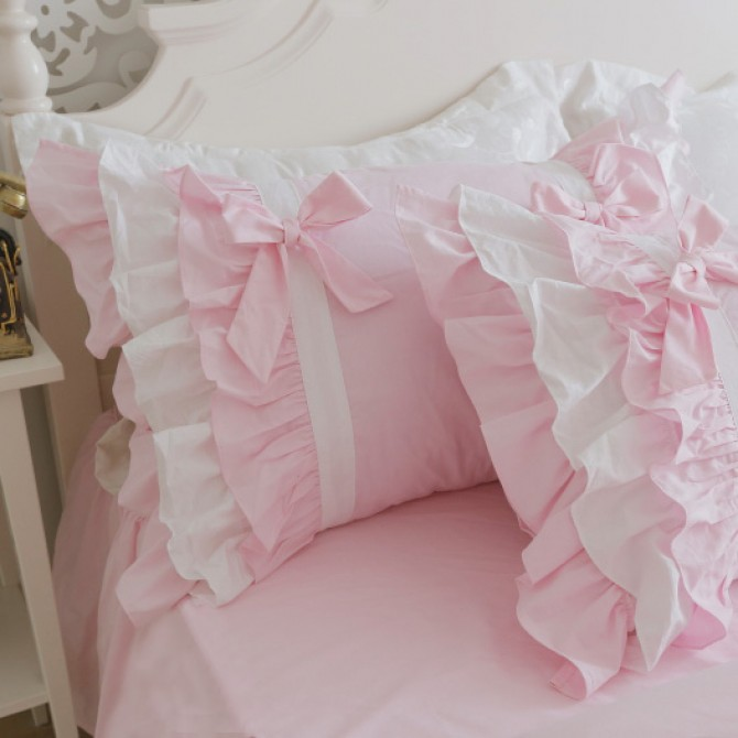 Pink Ruffle Pillow Sham