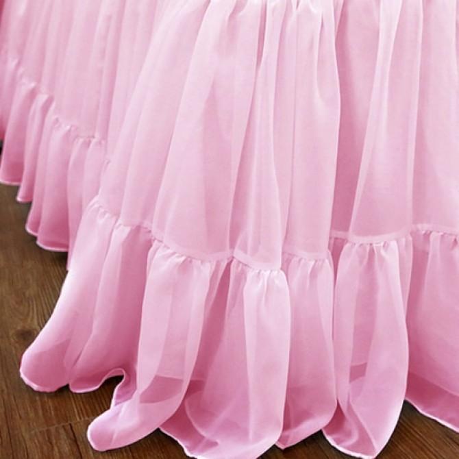Chiffon Ruffle Bed Skirt-Pink