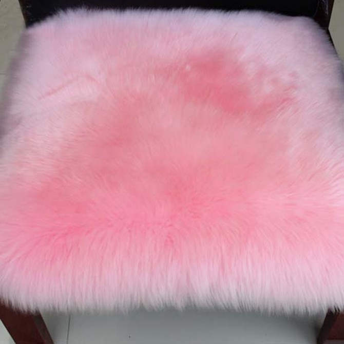 Pink Sheep Fur Chair Cushion Mat
