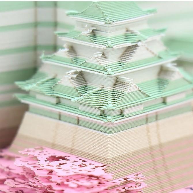 Japan Osaka Castle Cherry Blossom 3D Paper Art Memo Pad