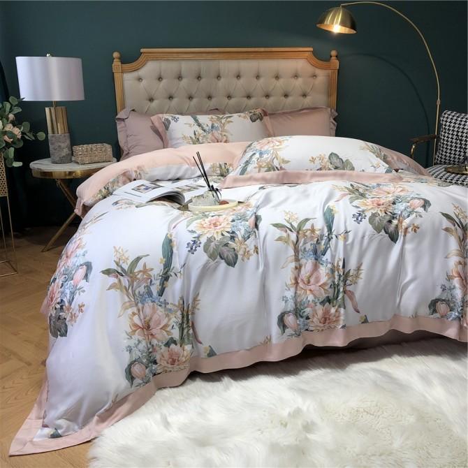 Pink Flower Garden Duvet Cover Set