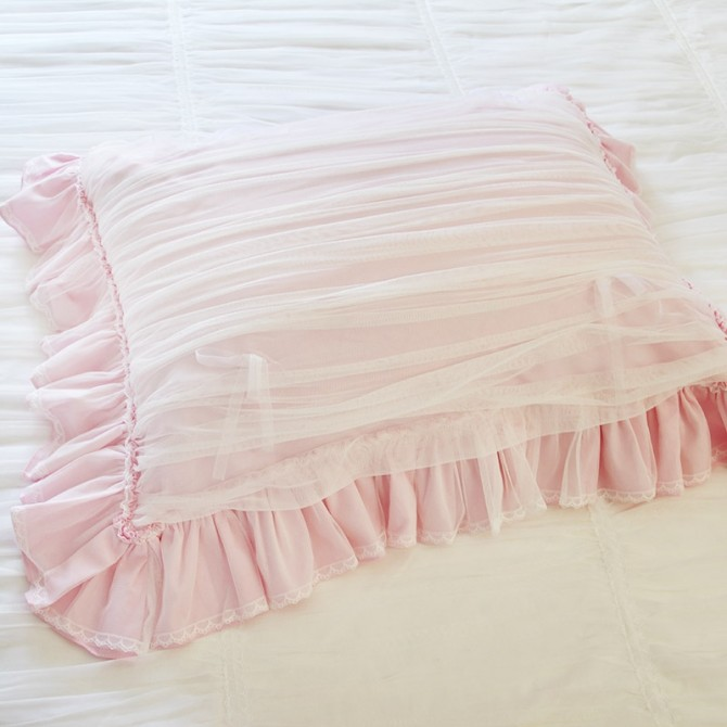 Pink Ruched Ruffle Sheer Pillow Sham